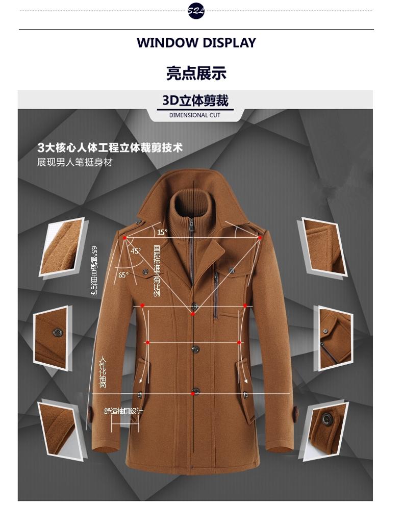 Playboy VIP nam áo len nam trung niên mùa đông dày dài áo gió áo len