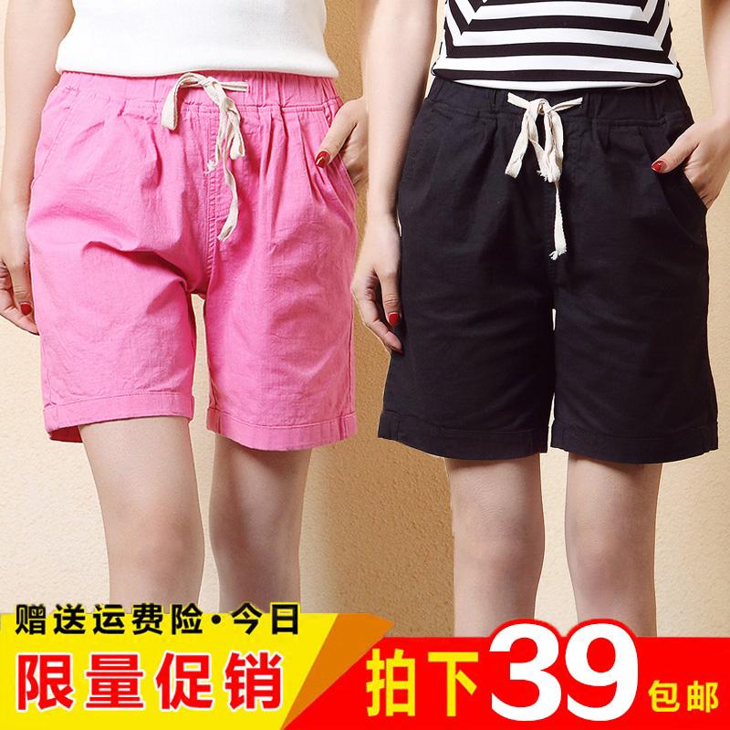 棉麻五分裤女夏季直筒薄款宽松紧大码胖MM半截裤运动亚麻5分4短裤