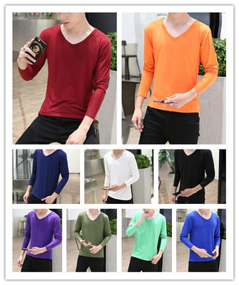Men's long-sleeved t-shirt Korean version of the self-cultivation V neck shirt solid color shirt Men's tight-fitting autumn clothes cotton shirt