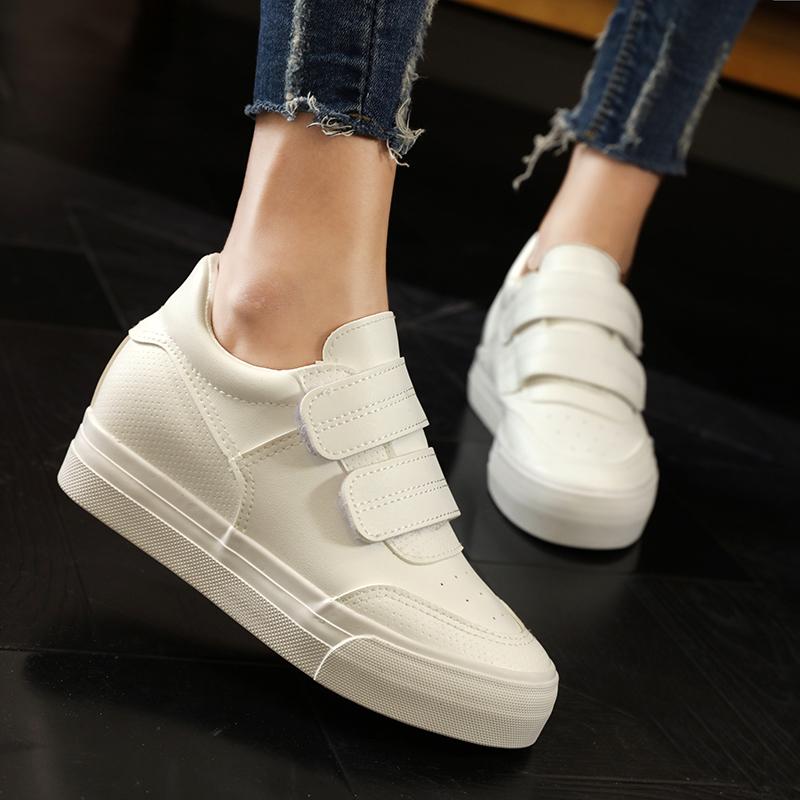 秋季鞋女新款韩版百搭厚底单鞋内增高白鞋