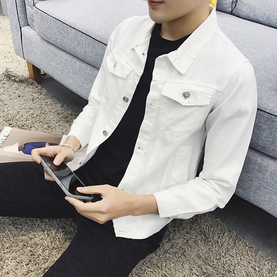 Autumn stretch denim jacket men Korean Slim white denim jacket student jacket denim jacket men's tide
