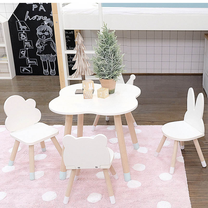 Custom ins Nordic minimalist style children's baby tables and chairs set cartoon chair back kindergarten desk solid wood