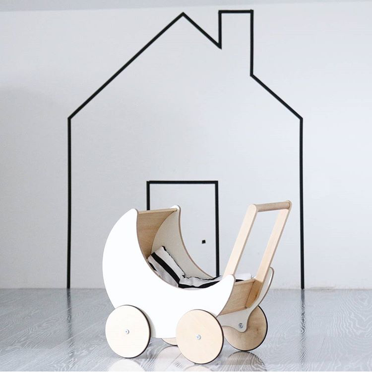 INS blasting Custom Kids trolley Walker solid wood white Moon styling Home Toys