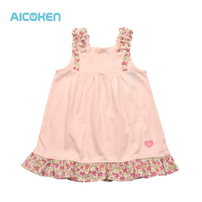 Love child health Aicoken children's clothing hot sale girl child summer cotton floral collar vest dress