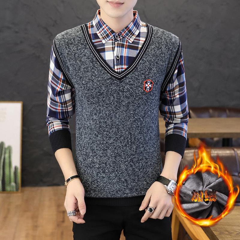 秋冬季a青年带青年领毛衫男假两潮流衬衫韩版件套加绒加厚男款毛衣