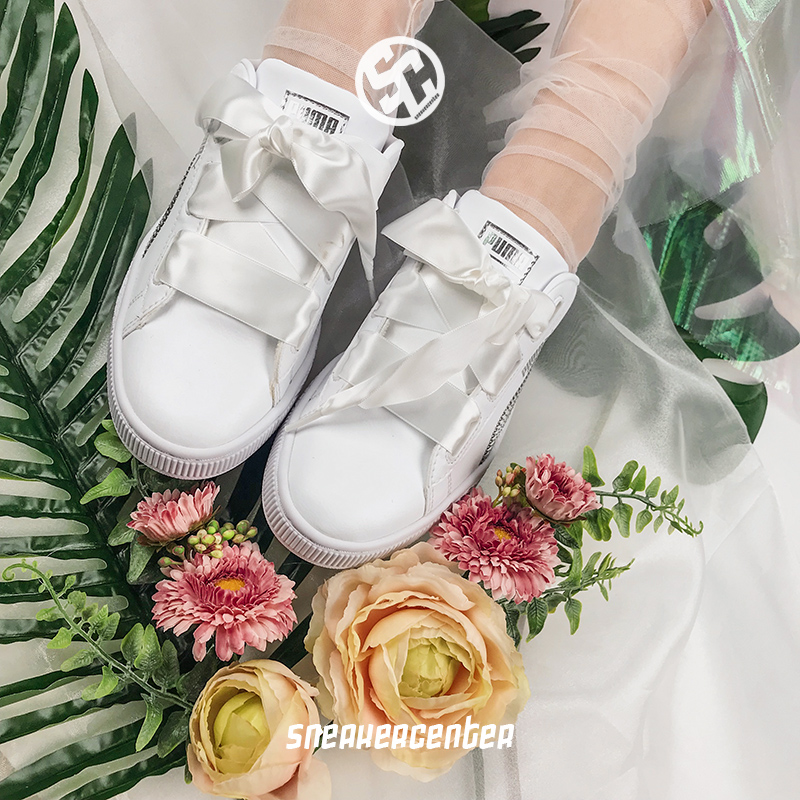 f3c4d8d0840 Puma Basket Heart white bow ribbon women shoes sport casual board shoes  366847-02 · Zoom · lightbox moreview · lightbox moreview ...