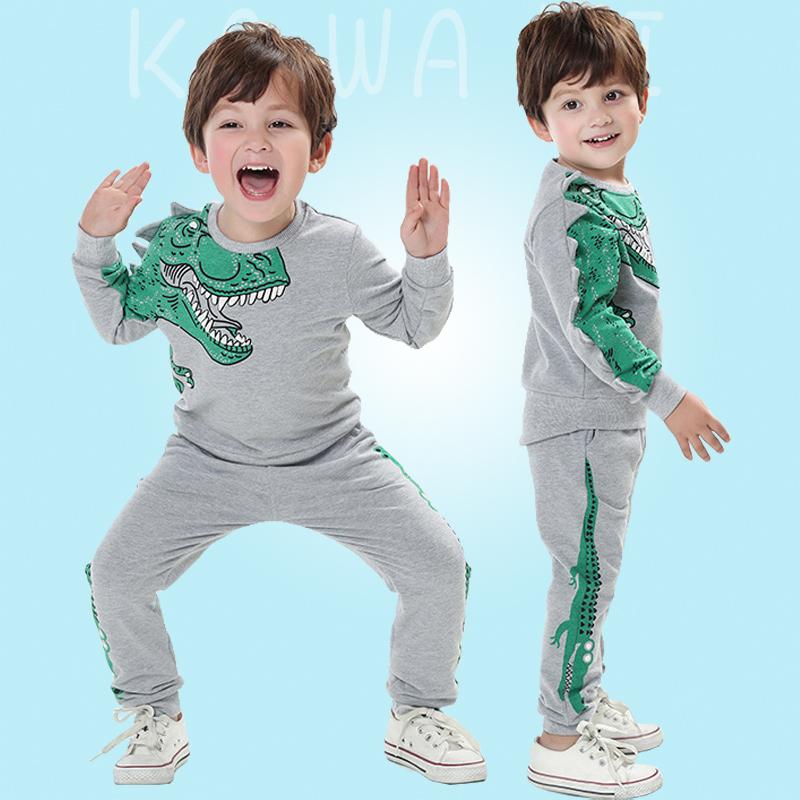恐龙衣服儿童 套装春秋纯棉薄款小男童暴龙卫衣鳄鱼裤子洋气童装