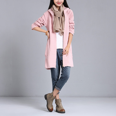 2018 spring women's retro art Fan solid color long coat loose casual thick long-sleeved trench coat