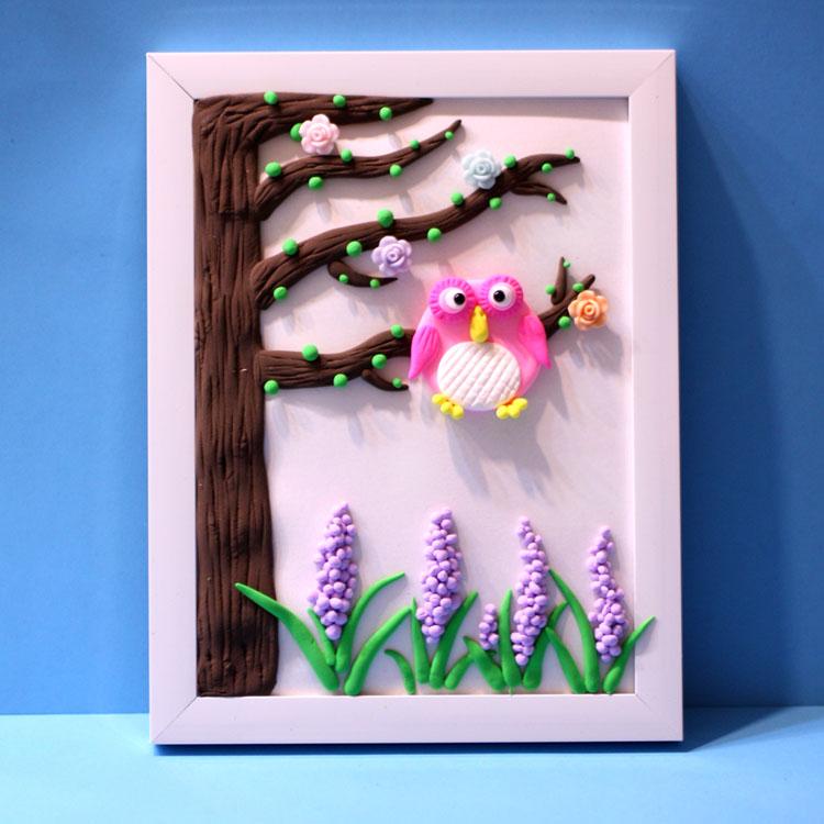 儿童DIY亲子彩泥立体画相框画材料包 送小男孩小女孩礼物