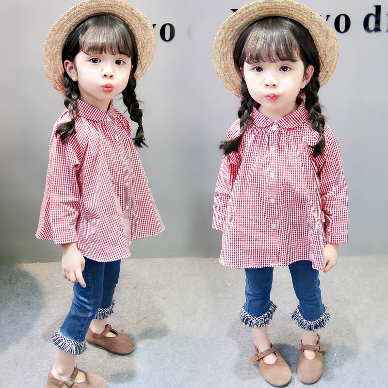 童装女童春装套装2019新款潮衣时髦洋气2儿童衬衫牛仔裤两件套3岁