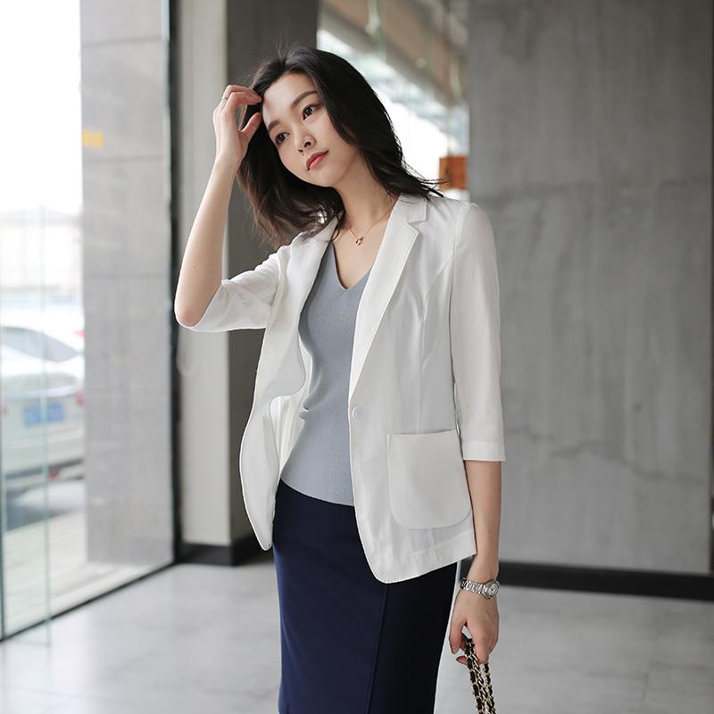 芝美日禾外套亚麻七分袖中长款小西装天然女OLv外套职业装夏薄款