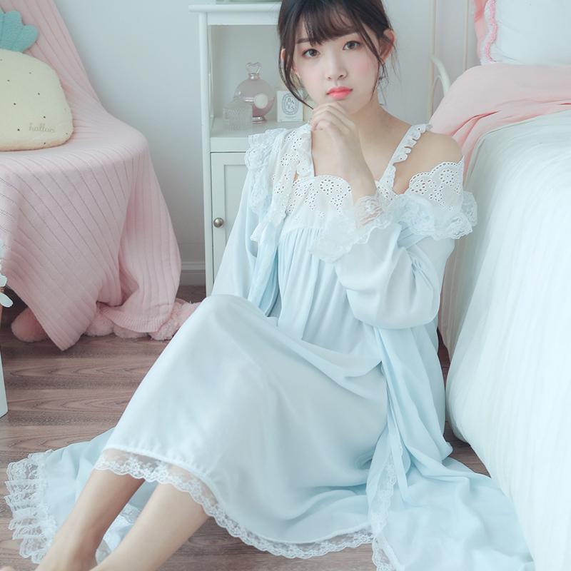 冬季吊带睡裙女冬韩版性感甜美可爱蕾丝睡衣春秋宫廷公主风两件套