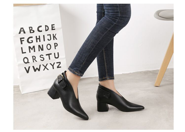 European and American style with new leather retro boots deep V-neck pointed women's shoes buckle belt bare boots winter boots 94 Online shopping Bangladesh