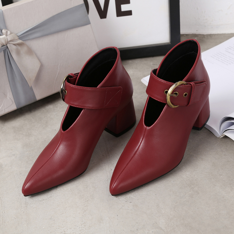 European and American style with new leather retro boots deep V-neck pointed women's shoes buckle belt bare boots winter boots 101 Online shopping Bangladesh