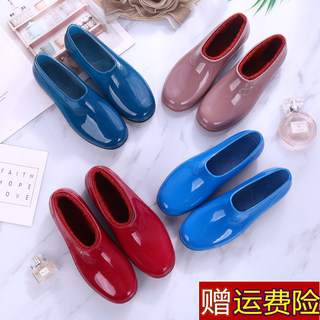 Spring fashion rain boots women waterproof slip Duantong shoes shallow mouth to help low safety shoes women shoes work boots women