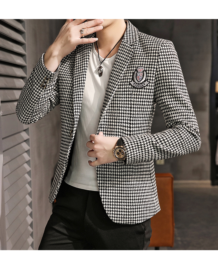 Young Thousand Birds grid slim suit Korean version of the trend Spring and Autumn men's social guy suit jacket British single west 57 Online shopping Bangladesh