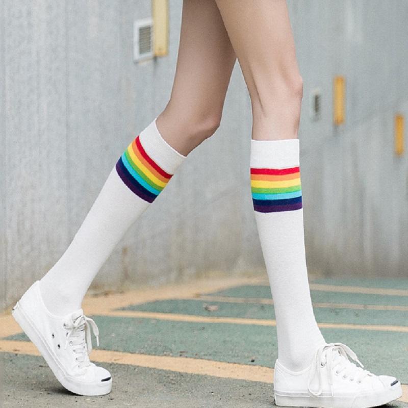 彩虹小腿袜ins风纯棉长筒袜膝袜