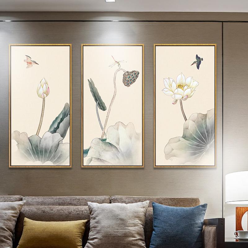 新中式客厅装饰画沙发背景墙餐厅书房茶室挂画水墨画荷花禅意壁画