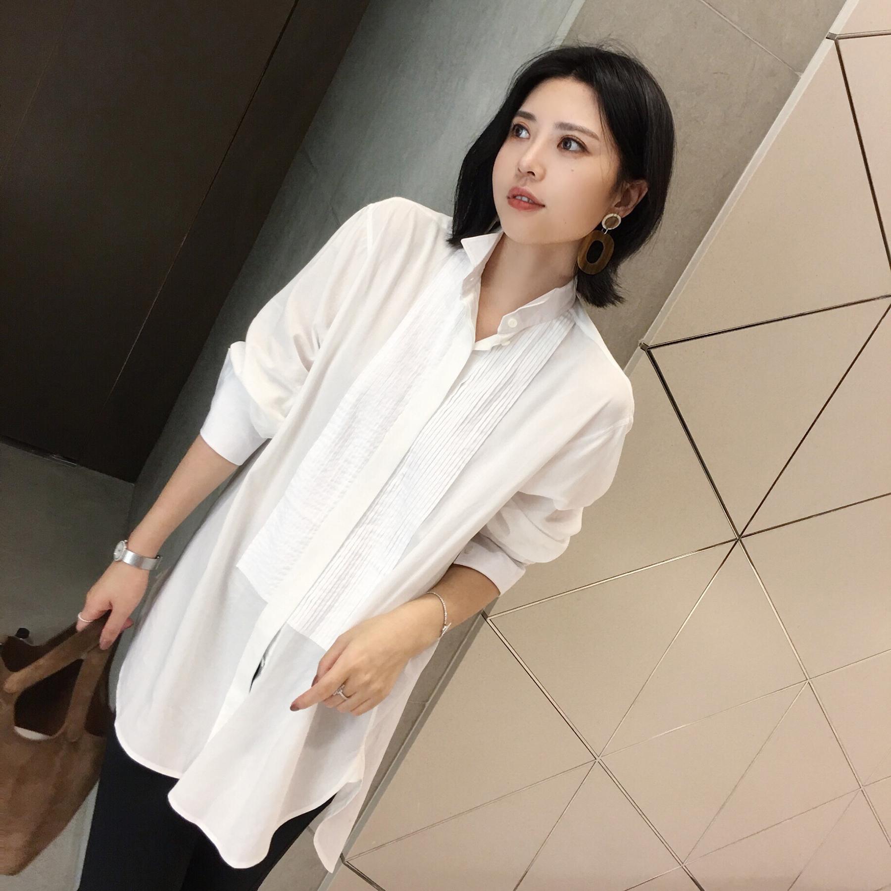 2017秋装新款女韩版蝴蝶结上衣职业女装秋季长袖衬衣雪纺衬衫白色