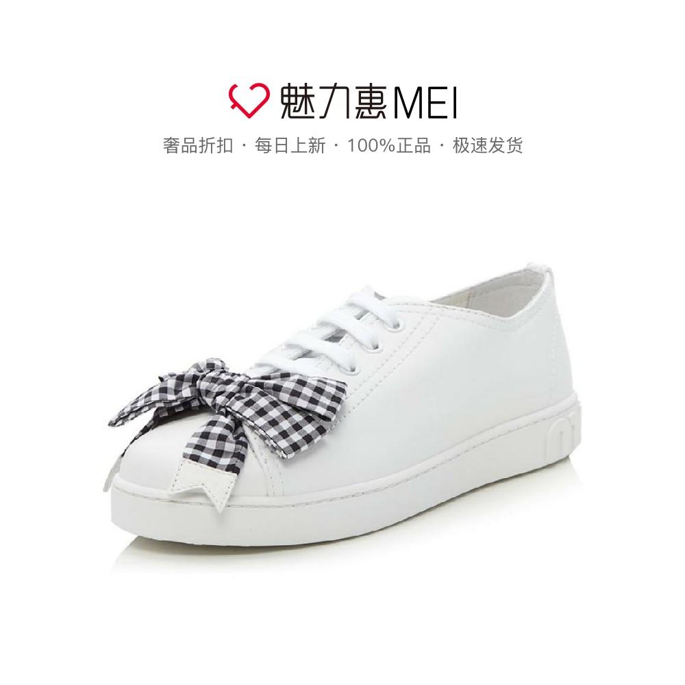 miu miu/缪缪 白色牛皮格纹蝴蝶结装饰百搭休闲鞋小白鞋女鞋