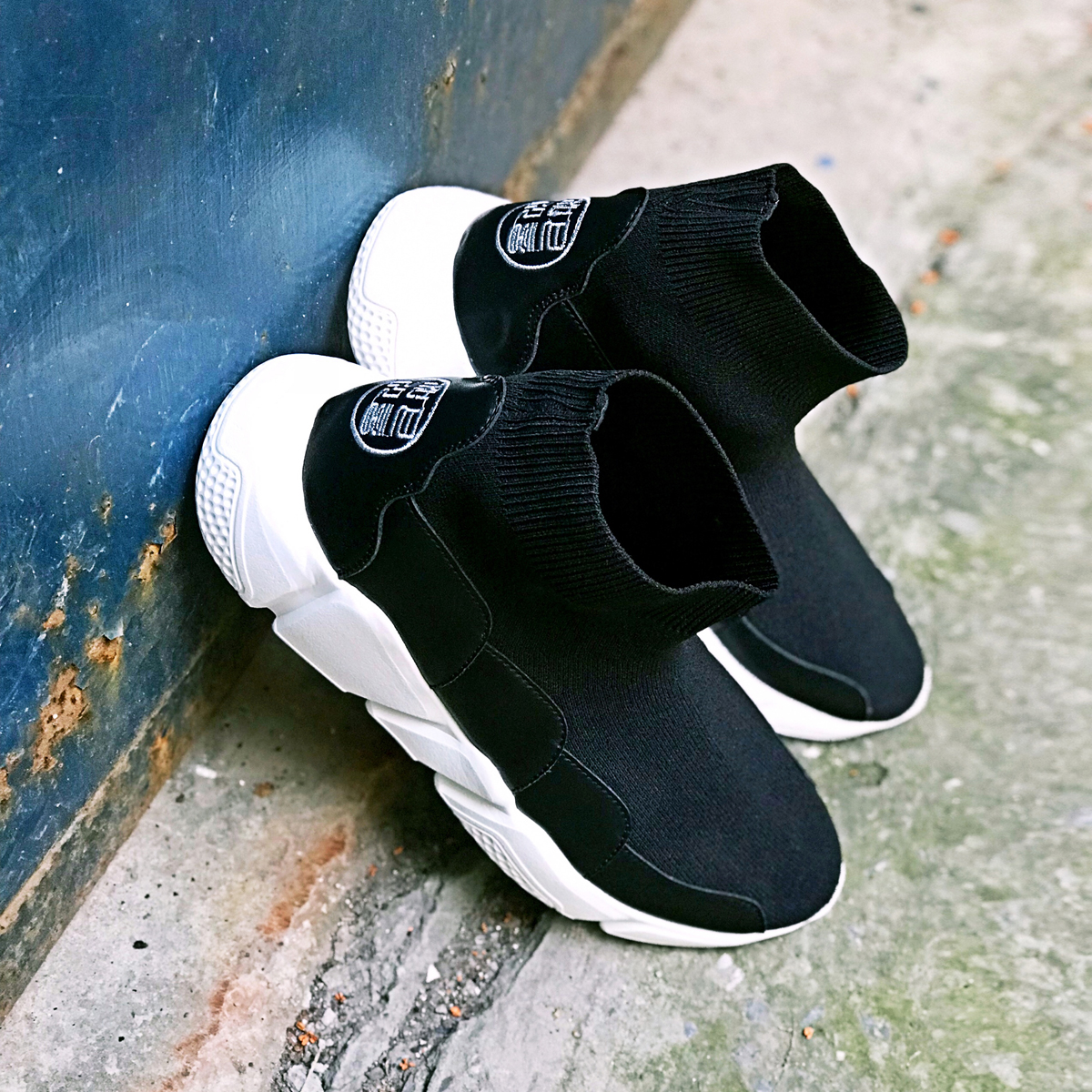 中国风官靴套脚飞织薄款鞋子鞋厚底高帮袜子款运动鞋针织弹力男女