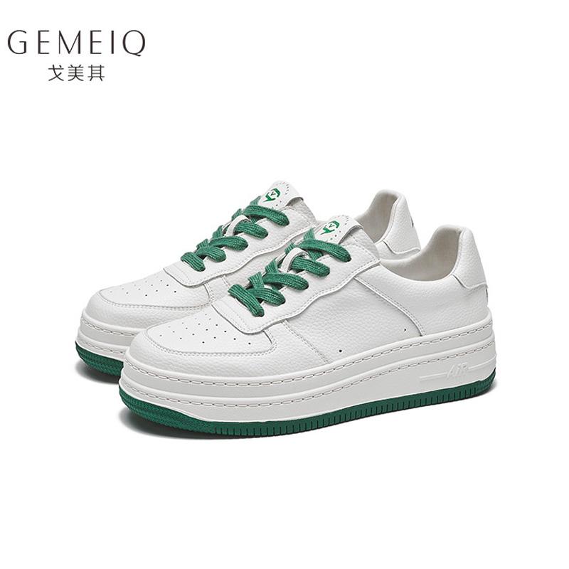 戈美其2021春季新款真皮小白鞋女学院风厚底增高平底休闲运动板鞋