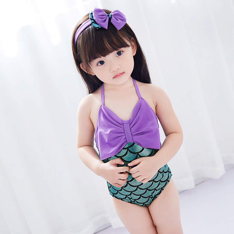 儿童泳衣女孩2宝宝3女童泳装小公主4小童ins风5岁连体防晒游泳衣