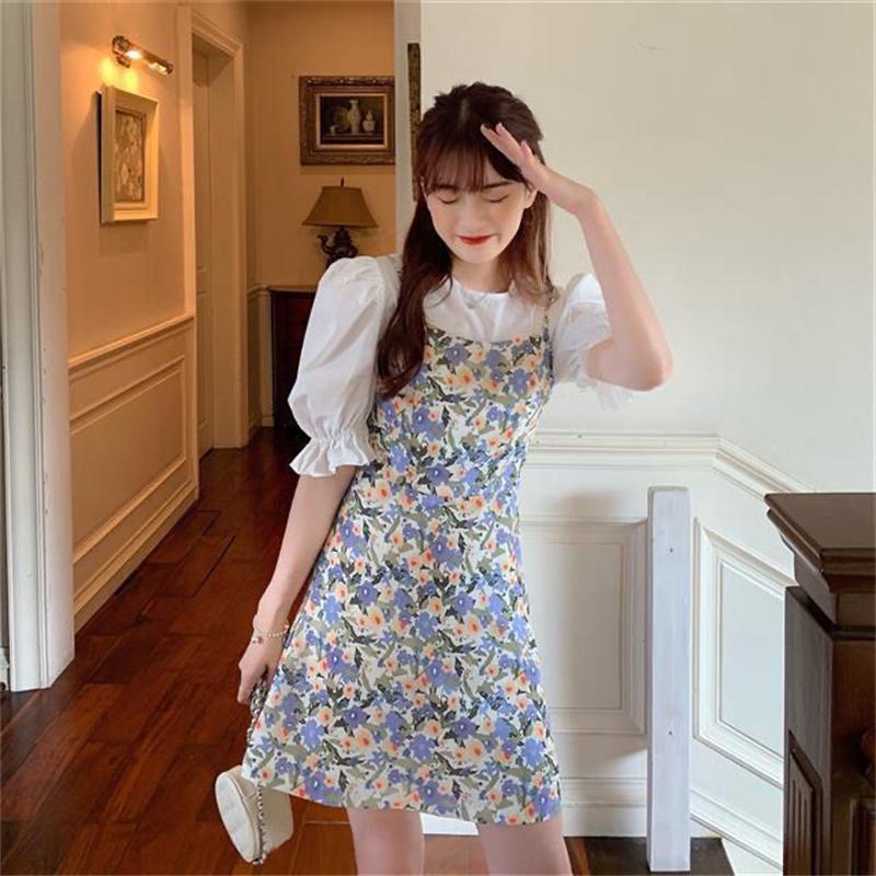 泡泡袖衬衣+碎花吊带裙两件套装