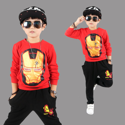 Boy suit 2018 new spring 6 years old and a half 7 children 8 iron man children's clothing 10 fashion 5 handsome 9 children