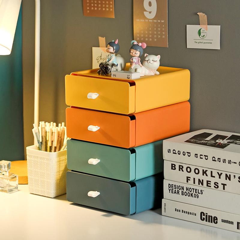 抽屉式桌面收纳盒化妆品办公桌学生宿舍整理储物盒书桌置物架神器