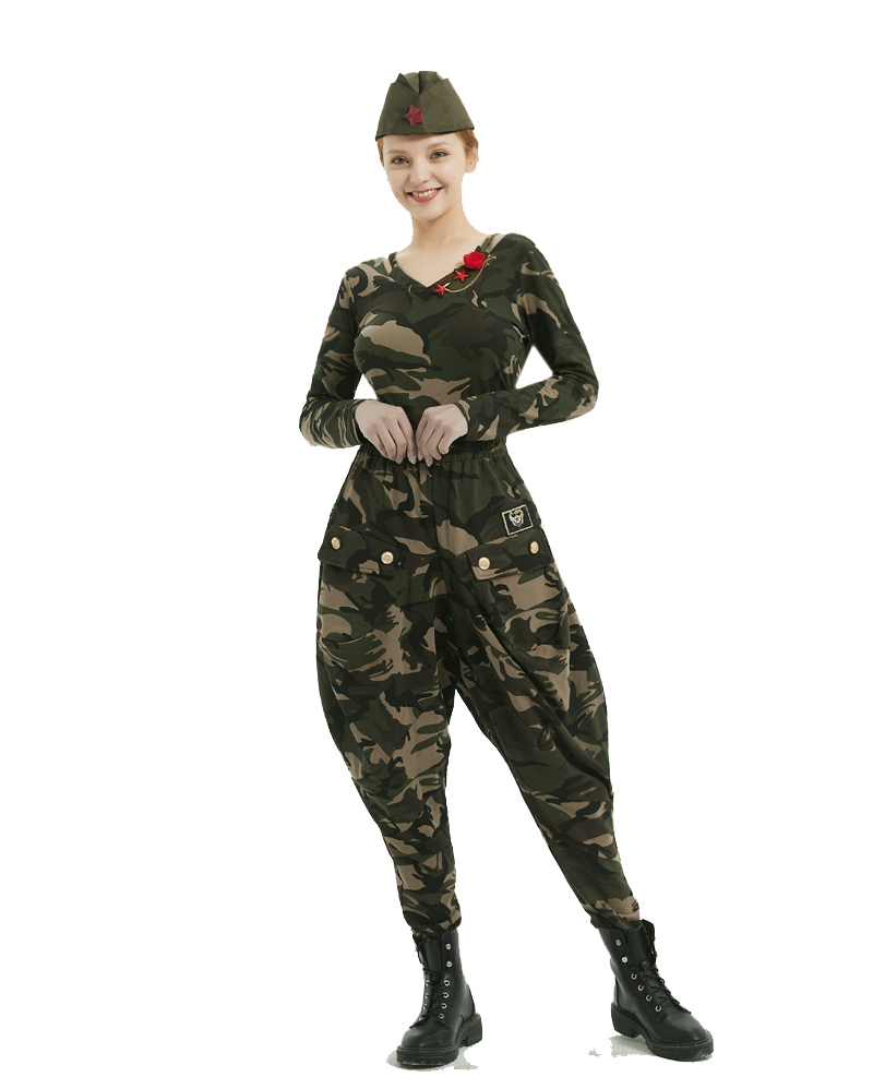 水兵舞服装迷彩套装女春夏新款全棉军迷上衣长袖马裤灯笼裤女详细照片