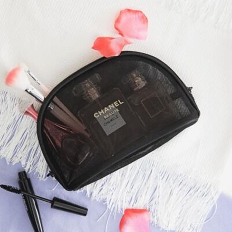 韩国可爱化妆包小号便携黑色透明网纱包大容量收纳包随身手拿包女