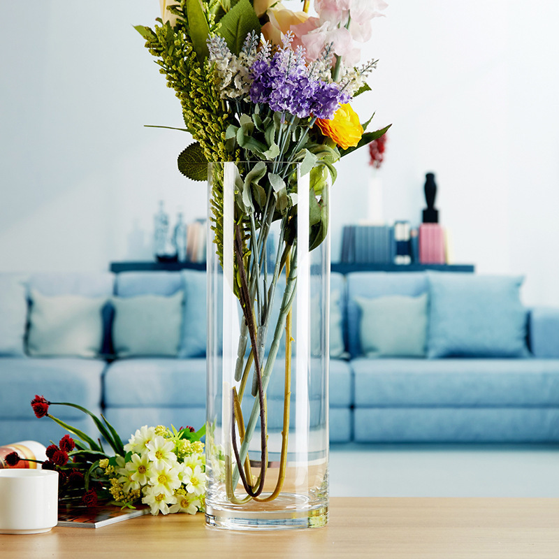 Extra large transparent glass vase decoration living room flower extra large transparent glass vase decoration living room flower arrangement flower straight tube rich bamboo water mightylinksfo