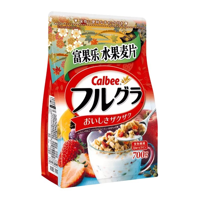 Calbee Calbee fruit cereal 700g imported breakfast instant oatmeal substitute meal full food breakfast