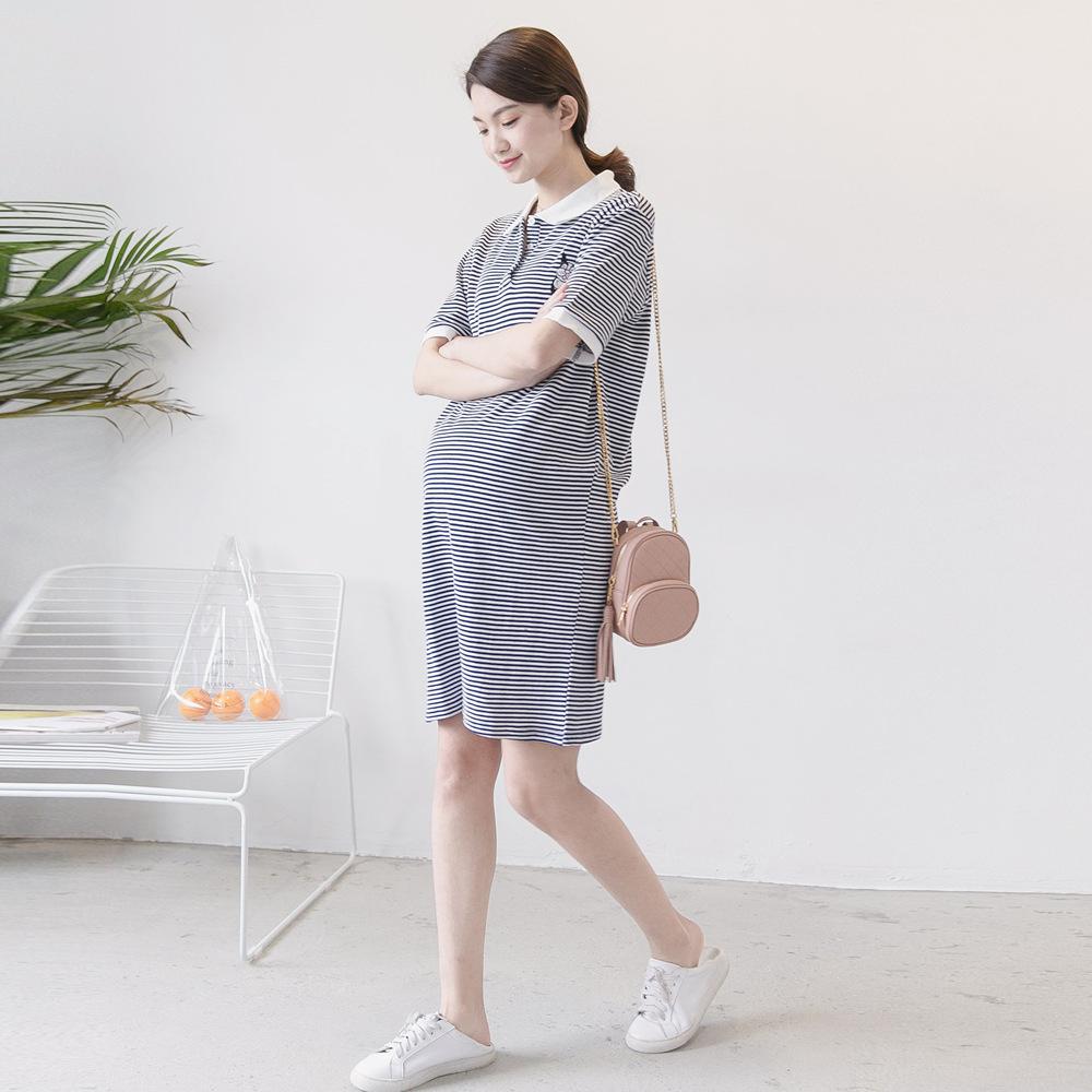 孕妇装春装上衣条纹t恤2019新款POLO衫大码中长款孕妇连衣裙夏季