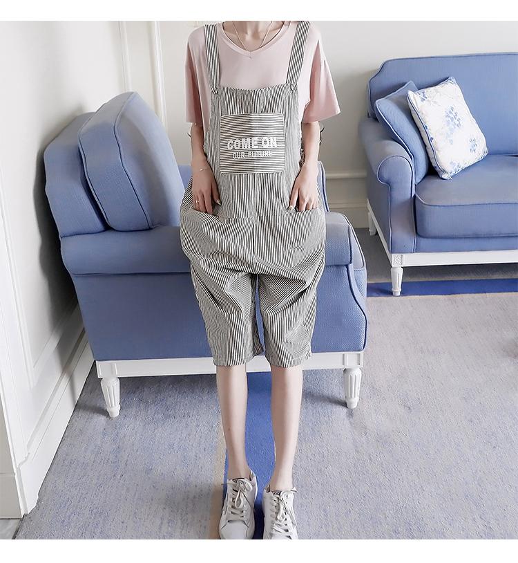 孕婦背帶褲夏季2018新款韓版時尚寬松條紋COME ON孕婦托腹背帶褲