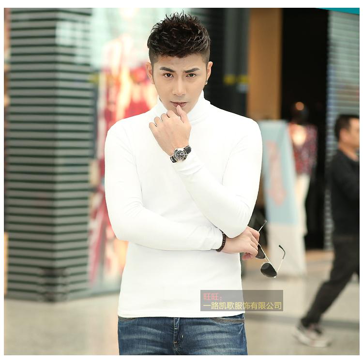 Của nam giới mùa thu phương thức cao cổ áo dài tay t-shirt nam slim body áo sơ mi cơ thể chặt chẽ áo Hàn Quốc phiên bản của quần áo máu áo thun trắng nam