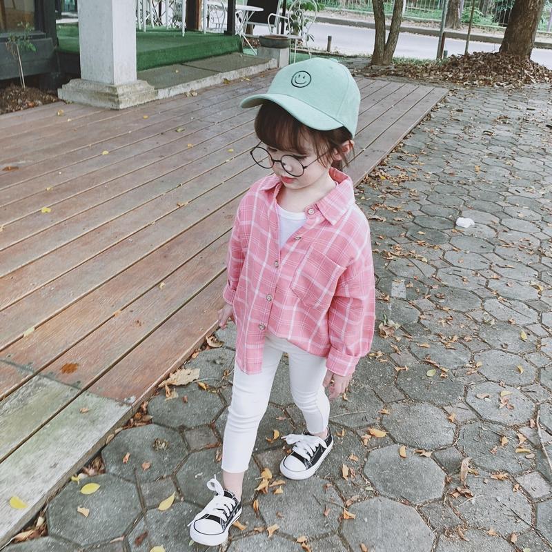 格子女童2019新款童装韩版长袖衬衣夏装防蚊衬衫上衣宝宝防晒儿童