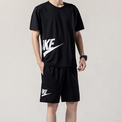 男士运动套装夏季2021新款潮流宽松大码短袖短裤两件套休闲运动服