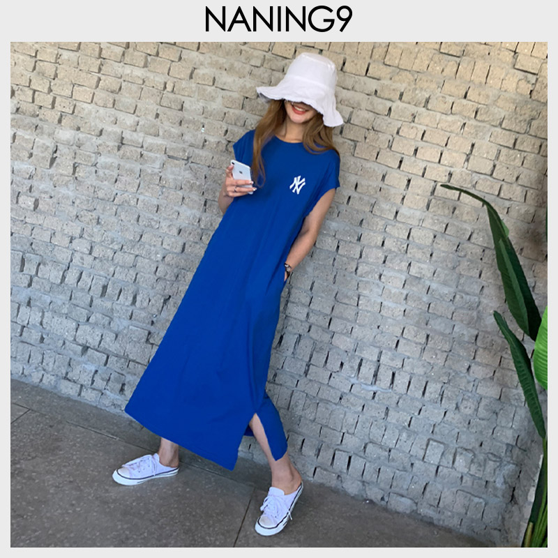 naning9韩国代购女装2019夏新款潮韩版宽松直筒NY字母短袖连衣裙