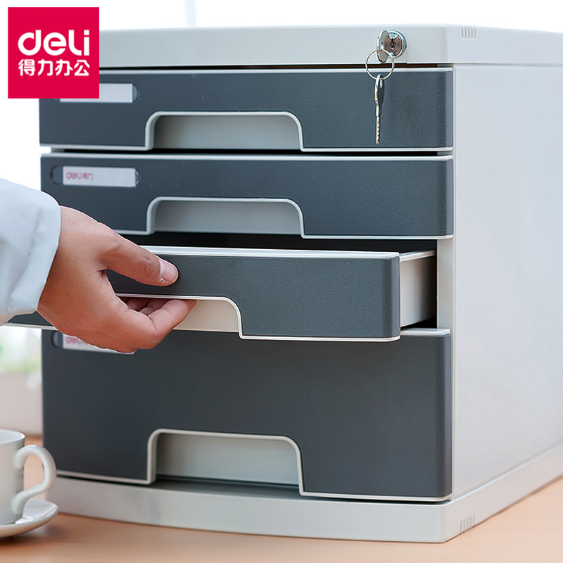 Deli Powerful Desktop File Cabinet Cabinet Drawer With Lock 4 Layer Plastic  Office Storage Box