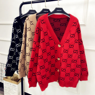 2021 autumn and winter new 慵 lazy V-neck double g sweater female cardigan loose large size retro chic sweater jacket