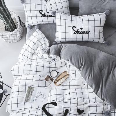 北欧简约黑白条纹毛巾绣瑚绒法莱绒四件套加厚保暖法兰绒床上冬季