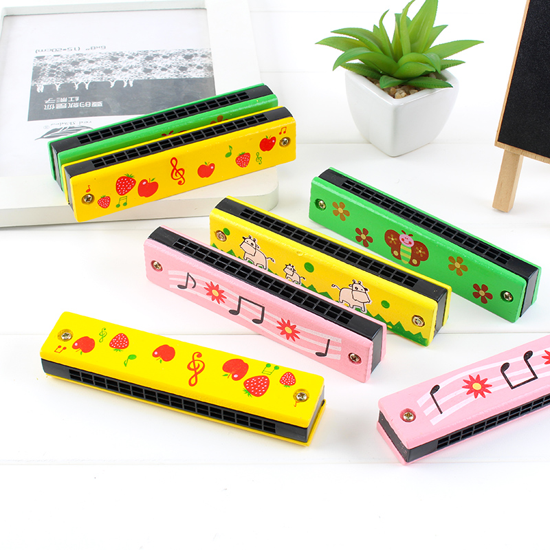 Childrens 16 Hole Double Row Cartoon Toys Harmonica Beginner Musical Instrument Kindergarten Boy