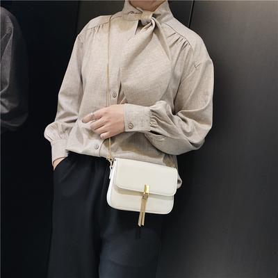 上新小包包时尚女包2019新款纯色韩版流苏港风单肩斜挎链条小方包