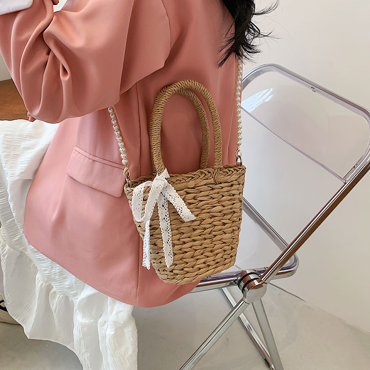 wholesale straw woven pearl chain messenger bag Nihaojewelry NHLH386302