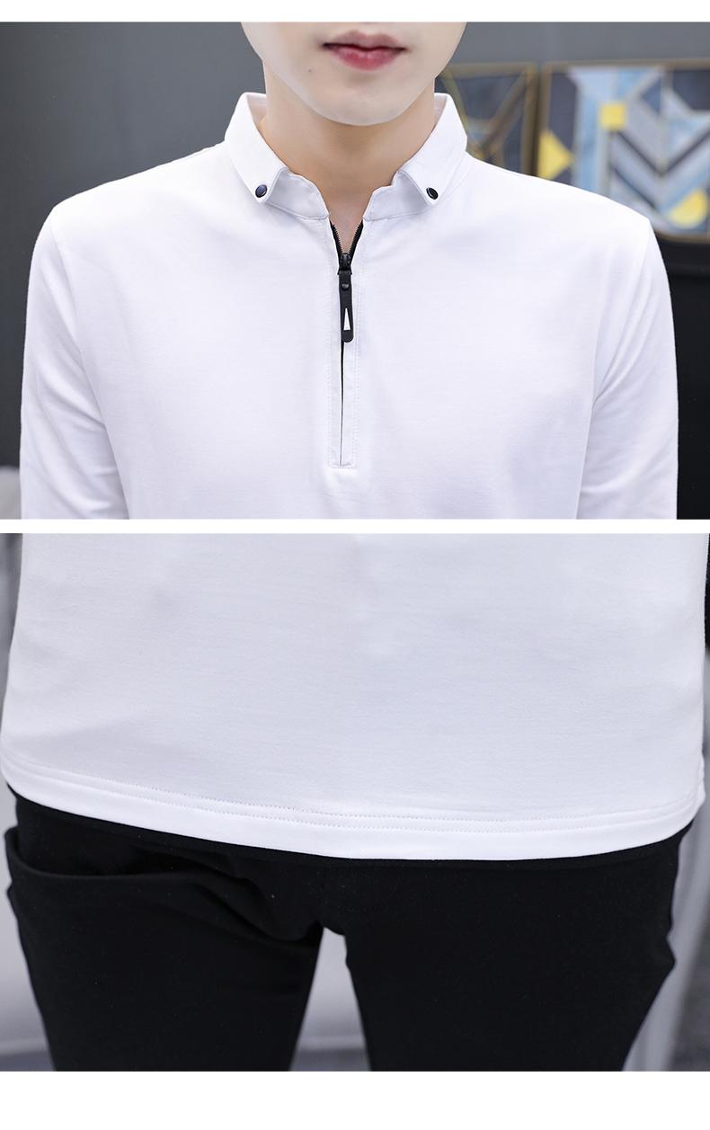 韓流大碼男裝(小翻領男士長袖t恤秋季純棉外穿上衣男裝中青年純色有領體恤潮流)大碼長袖T恤休閒褲襯衫外套亞麻襯衫薄款針織衫