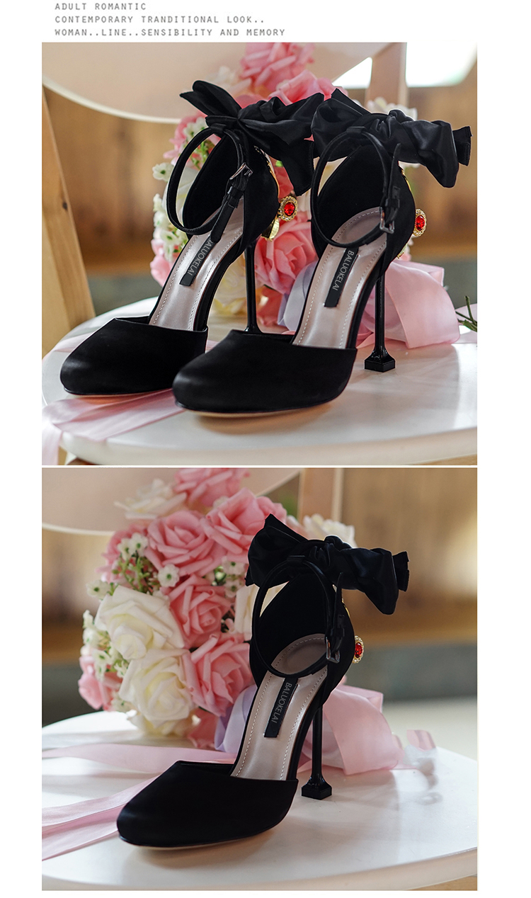 Summer Women Sandals Black Satin Two Different Heels Shoes Woman Wedding Sandals Sexy Women Shoes Butterfly-knot Sandals,C-832