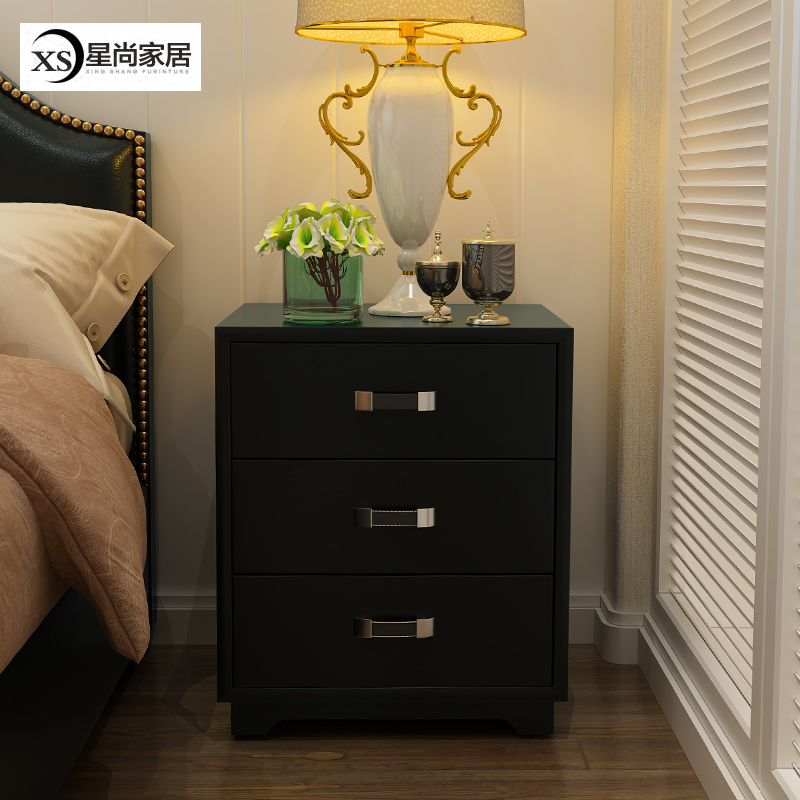 American Three Tier Drawer Leather Bedside Cabinets Bedroom Lockers Nordic  Black Bedside Cabinets Cabinets Simple