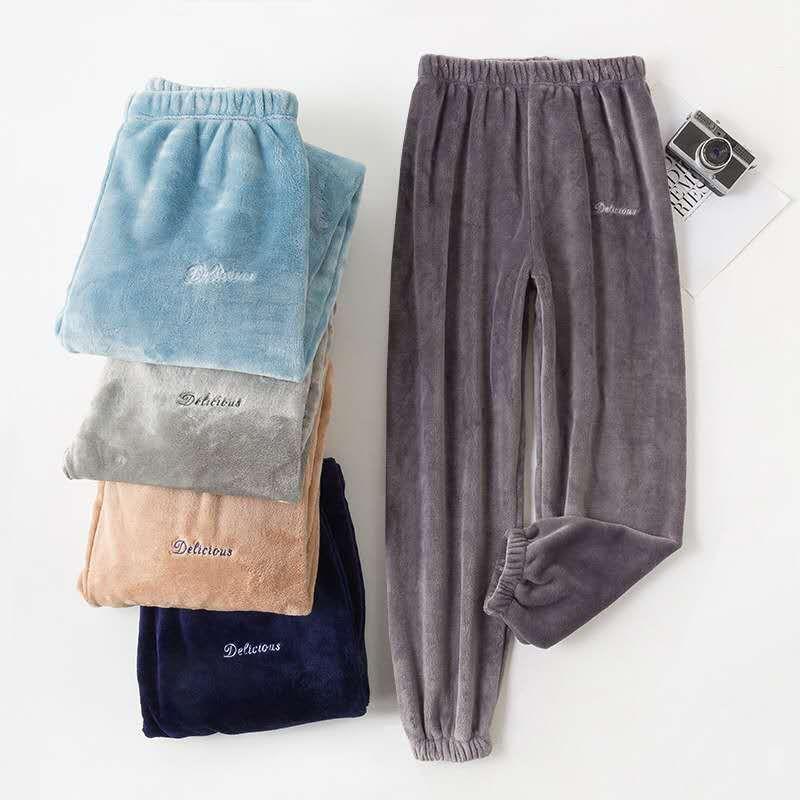 睡裤男秋冬加厚珊瑚绒保暖裤子暖暖裤法兰绒长裤可外穿冬季家居裤